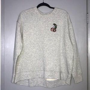 H&M crystal cherry grey oversized sweatshirt, L